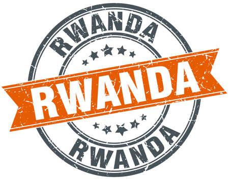 rwanda: Rwanda red round grunge vintage ribbon stamp