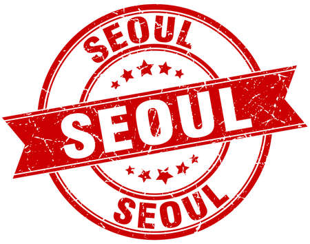 seoul: Seoul red round grunge vintage ribbon stamp Illustration