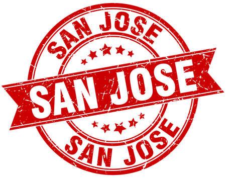 san jose: San Jose red round grunge vintage ribbon stamp Illustration