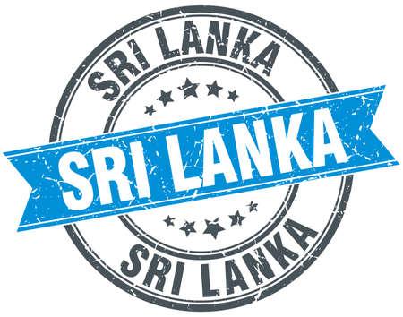 sri lanka: Sri Lanka blue round grunge vintage ribbon stamp