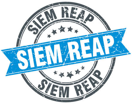 siem reap: Siem Reap blue round grunge vintage ribbon stamp Illustration