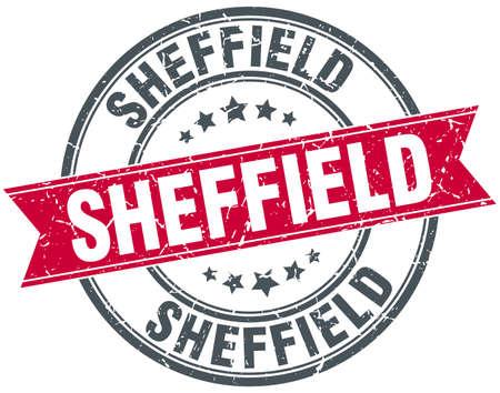 sheffield: Sheffield red round grunge vintage ribbon stamp Illustration