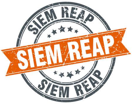 siem reap: Siem Reap red round grunge vintage ribbon stamp