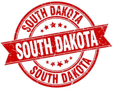 south dakota: South Dakota red round grunge vintage ribbon stamp