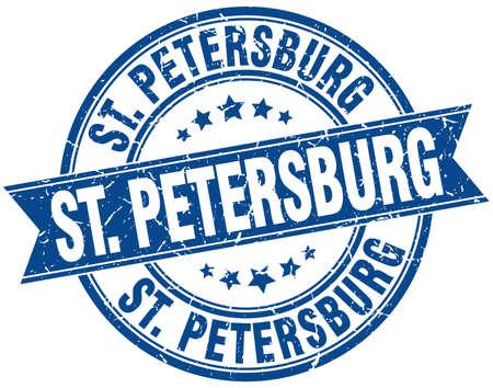 st petersburg: St. Petersburg blue round grunge vintage ribbon stamp