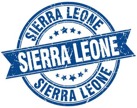 sierra leone: Sierra Leone blue round grunge vintage ribbon stamp Illustration
