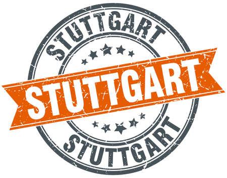 stuttgart: Stuttgart red round grunge vintage ribbon stamp Illustration