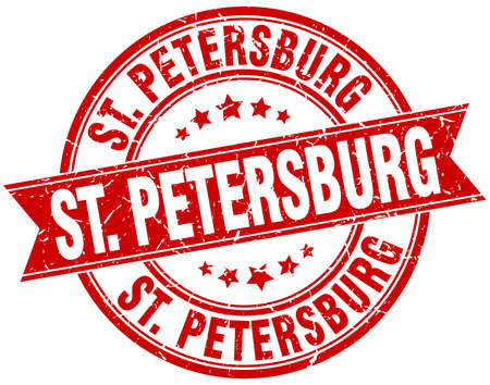 st petersburg: St. Petersburg red round grunge vintage ribbon stamp