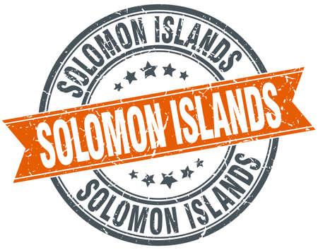 solomon: Solomon Islands red round grunge vintage ribbon stamp