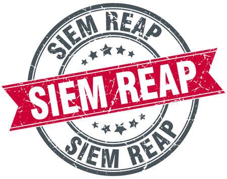 reap: Siem Reap red round grunge vintage ribbon stamp