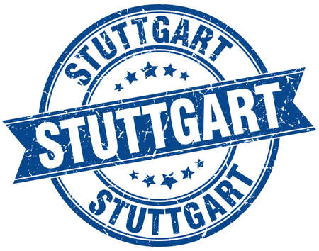 stuttgart: Stuttgart blue round grunge vintage ribbon stamp