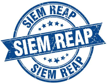 reap: Siem Reap blue round grunge vintage ribbon stamp Illustration