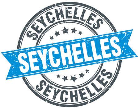 seychelles: Seychelles blue round grunge vintage ribbon stamp Illustration