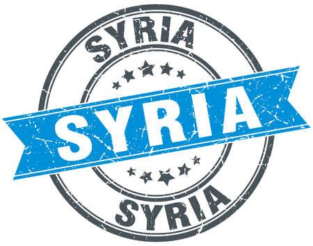 Syria: Syria blue round grunge vintage ribbon stamp
