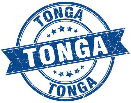 tonga: Tonga blue round grunge vintage ribbon stamp