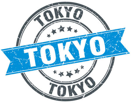 rubber band: Tokyo blue round grunge vintage ribbon stamp Illustration