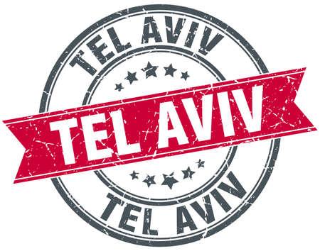 aviv: Tel Aviv red round grunge vintage ribbon stamp