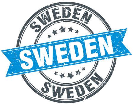 sweden: Sweden blue round grunge vintage ribbon stamp
