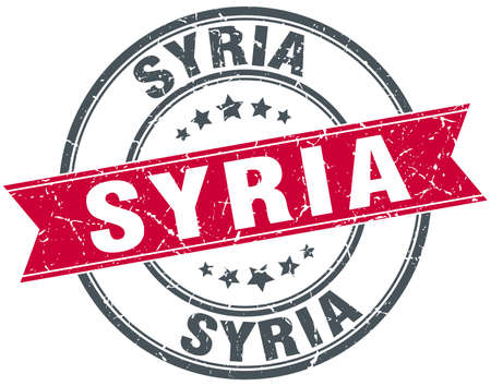 syria: Syria red round grunge vintage ribbon stamp
