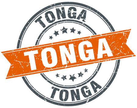 tonga: Tonga red round grunge vintage ribbon stamp