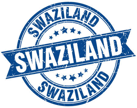 swaziland: Swaziland blue round grunge vintage ribbon stamp Illustration