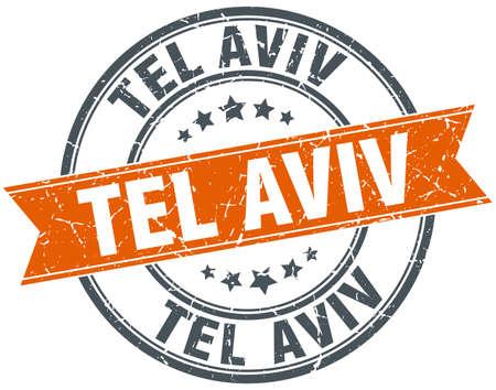 tel: Tel Aviv red round grunge vintage ribbon stamp