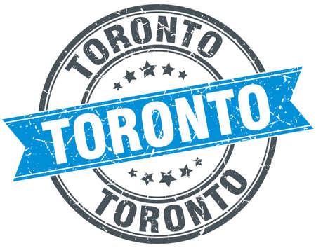 toronto: Toronto blue round grunge vintage ribbon stamp