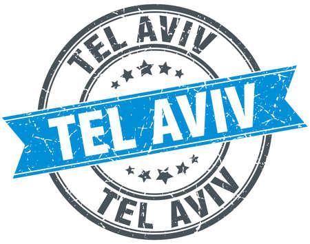 aviv: Tel Aviv blue round grunge vintage ribbon stamp