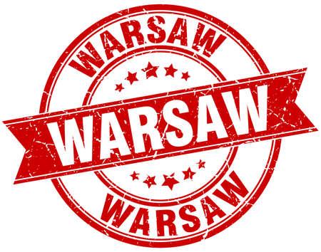 warsaw: Warsaw red round grunge vintage ribbon stamp