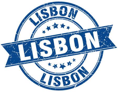 lisbon: Lisbon blue round grunge vintage ribbon stamp
