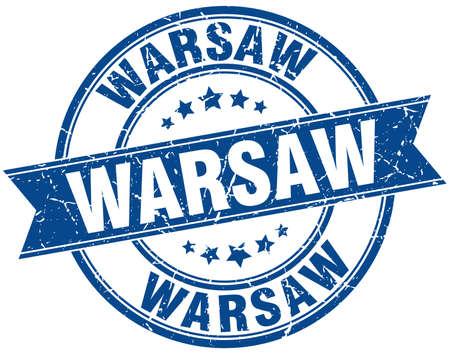 warsaw: Warsaw blue round grunge vintage ribbon stamp