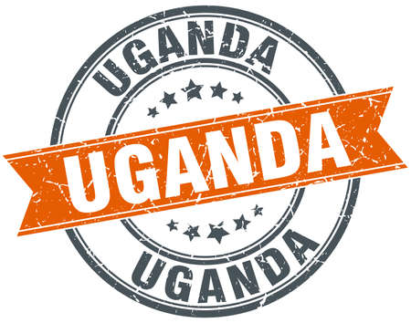 uganda: Uganda red round grunge vintage ribbon stamp