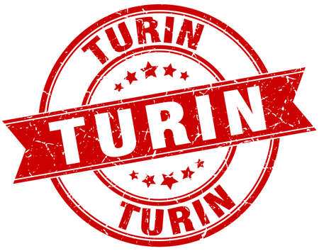 turin: Turin red round grunge vintage ribbon stamp Illustration