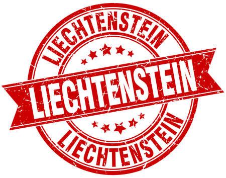 liechtenstein: Liechtenstein red round grunge vintage ribbon stamp