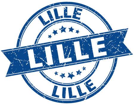 lille: Lille blue round grunge vintage ribbon stamp