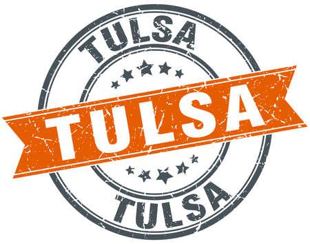 tulsa: Tulsa red round grunge vintage ribbon stamp