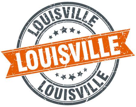 louisville: Louisville red round grunge vintage ribbon stamp Illustration