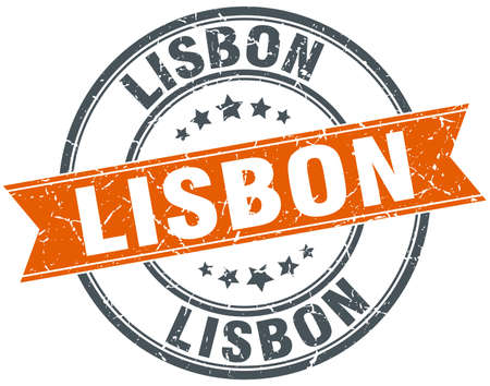 lisbon: Lisbon red round grunge vintage ribbon stamp