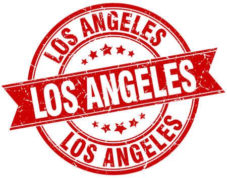 angeles: Los Angeles red round grunge vintage ribbon stamp Illustration