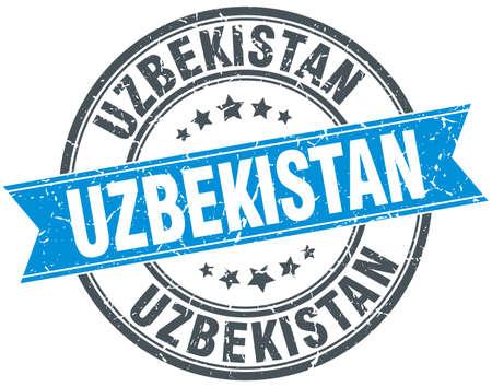 uzbekistan: Uzbekistan blue round grunge vintage ribbon stamp