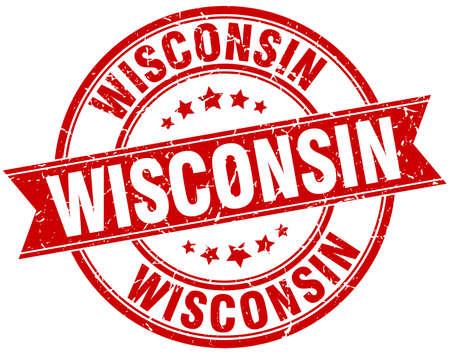 Wisconsin red round grunge vintage ribbon stamp