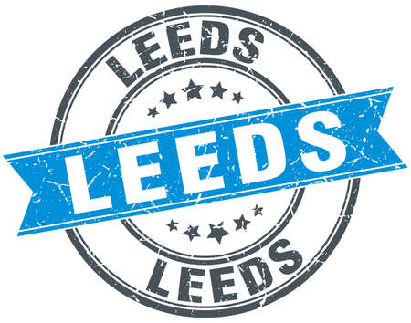 leeds: Leeds blue round grunge vintage ribbon stamp