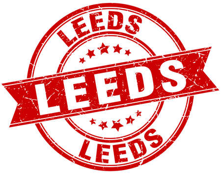 leeds: Leeds red round grunge vintage ribbon stamp