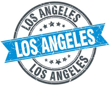 los: Los Angeles blue round grunge vintage ribbon stamp