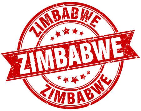 zimbabwe: Zimbabwe red round grunge vintage ribbon stamp Illustration