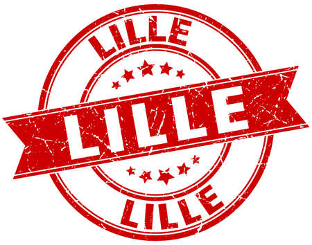 lille: Lille red round grunge vintage ribbon stamp