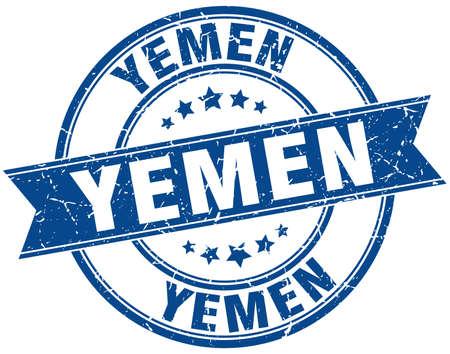yemen: Yemen blue round grunge vintage ribbon stamp Illustration