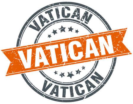 Vatican red round grunge vintage ribbon stamp