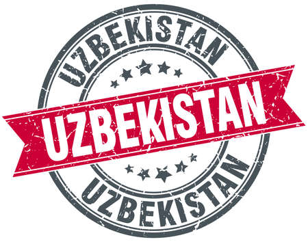 uzbekistan: Uzbekistan red round grunge vintage ribbon stamp