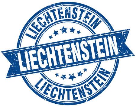 liechtenstein: Liechtenstein blue round grunge vintage ribbon stamp